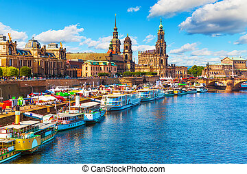 Summer scenery of the Old Town in Dresden, Germany