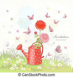 summer scenery with lovely flowers in vintage a red can watering