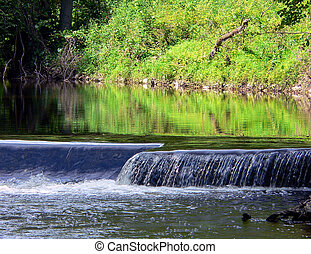 Summer Scenic - Beatiful summer scene of cascading water and...