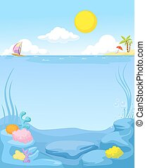 summer sea background - vector illustration