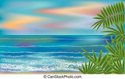 Summer sea background, vector illustration