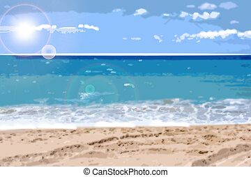 Summer sea background Vector realistic. blur effect templates