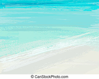 Summer sea. Background with blue brush stroke. Vector illustrati