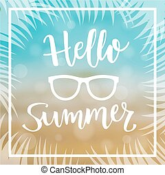 Summer Sea Background with message Hello  Summer. Vector Illustration