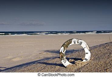 sea beach landscape and clock dial