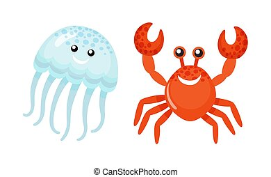 Summer Sea Characters, Jellyfish and Red Crab