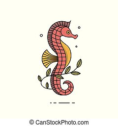 Summer sea icon with seahorse in flat design. Vector illustration.