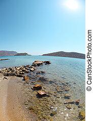 Summer sea landscape. Elounda, Crete, Greece
