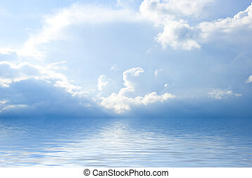 Summer sea landscape with  beautiful clouds