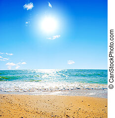 Summer sea landscape with the solar sky and beautiful sky