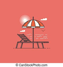 Summer sea landscape with umbrella and beach chair by sunset in flat design.