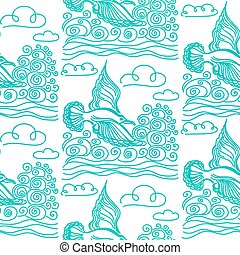 Summer sea seamless pattern. Illustration of bird seagull