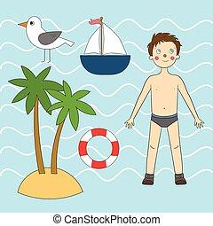Summer sea set vector illustration