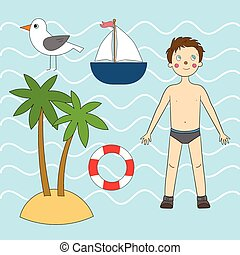 Summer sea set vector illustration