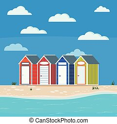 Summer sea side landscape with grass, huts, sand, stones, clouds, Cute blue, green, orange, red striped house with nameplaten on the beach for rent sport equipment, Flat cartoon vector illustration.