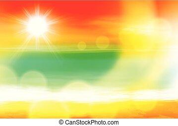 Summer sea sunset with the sun, light on lens