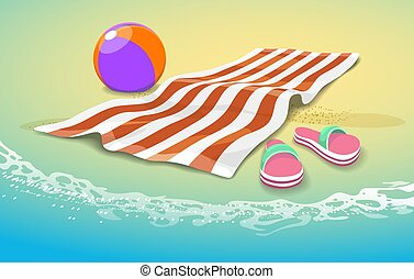 Summer sea towel background. Ocean beach peaceful vector illustration with ball toy, slippers and beach litter