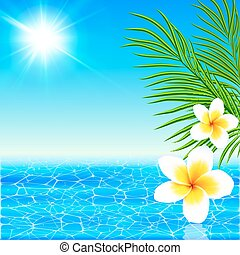 Summer sea with palms and flowers