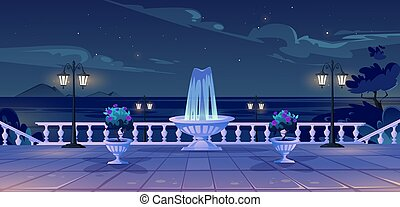 Summer seafront at night time quay with ocean view