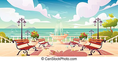 Summer seafront with fountain and benches