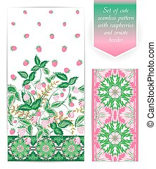 Summer seamless border template with raspberry leaves and berries. Ornate edging set. The border can be used as an independent seamless pattern. Use fabric clothing, bedding, web design, wallpaper etc