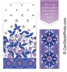 Summer seamless border template with raspberry, leaves and flowers