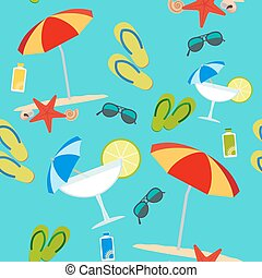 Summer seamless pattern on blue background