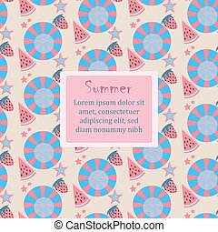 Summer Seamless Pattern with berries and fruits. From Summer Collection