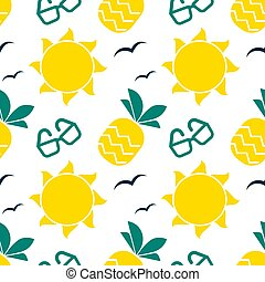 Summer seamless pattern with bright sun and pineapple