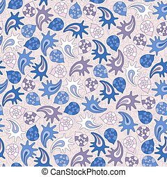 summer seamless pattern with colorful shells