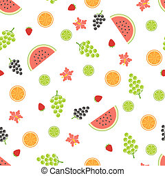 Summer seamless pattern with fruits.