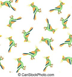Summer seamless pattern with parrots