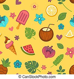 Summer seamless pattern with seasonal food and flowers