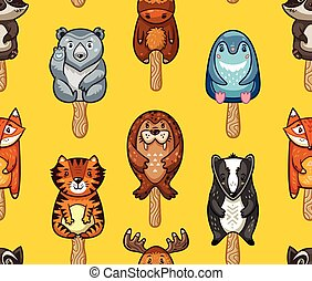 Summer seamless popsicle pattern with cartoon animals on a stick