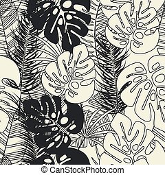 Summer seamless tropical pattern with monstera palm leaves and plants on vanilla background