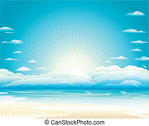 Summer Seascape - Summer ocean landscape of Vector...