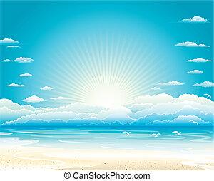 Summer Seascape - Summer ocean landscape of Vector...