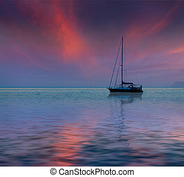 Summer seascape with luxury yacht. Sunset