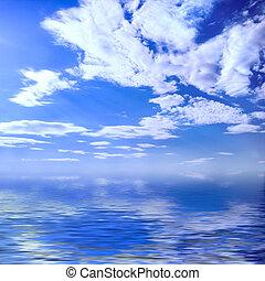 Summer seascape - Wonderful sky blue cloudy seascape crystal...
