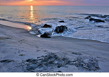 Summer Seashore Sunrise Over Rock Jetty