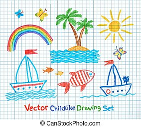 Summer seaside set. Felt pen childlike drawing. Vector...
