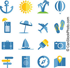 Summer seaside vacation icons. Different stuff collection