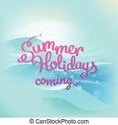 Summer seaside vacation illustration with logo