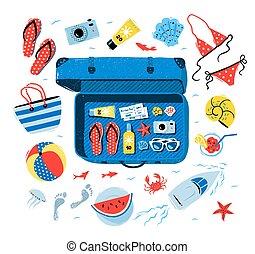 Summer seaside vacation vector set