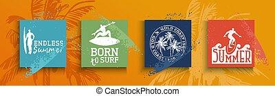 Summer season card set of surf text quotes - Summer season...