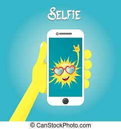 Summer selfie vector concept background.