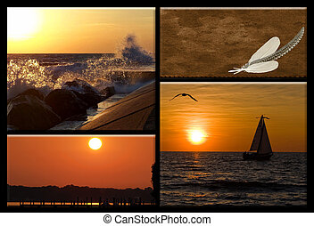Summer Serenity - Collage of summer sunsets on Lake...