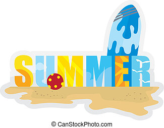 summer series background with surf board, sand, beach and ...