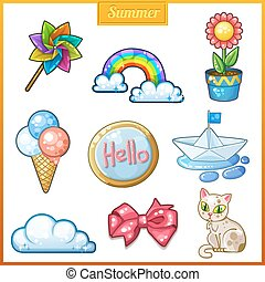 Summer set of cartoon candy icons.
