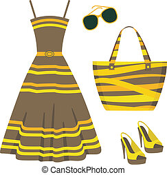 Summer set of clothes - Vector illustration. It is created ...